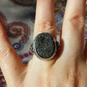 Michael Dawkins Ring With Silver Druzy Quartz